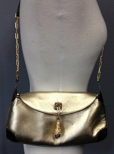 Gucci 00141132123 Metallic Leather Weighted Tiger Charm Close Satchel B3321 Shoulder Bag
