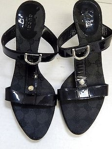 Gucci Patent D Ring Black Sandals