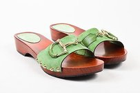 Gucci Suede Horsebit Green Sandals