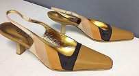 Gucci Gold Beige Striped Satin Kitten Heel Slingbacks B3310 Brown Pumps