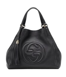 Gucci Soho Leather Hobo Tote in Black