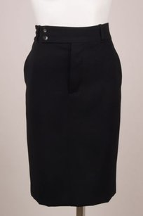Gucci Black Wool Belted Skirt