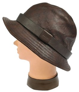 Gucci Vintage Gucci GG Logo Genuine leather Brown Hat