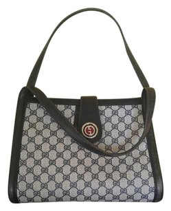 Gucci Vintage Monogram Leather Trim Racing Stripe Zipper Inside Tote in Blue