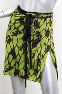 Gucci Adjustable Floral Assymetrical Knee Length Wrap With Silk Ties Skirt Green