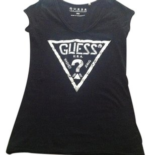 Guess T Shirt Black & Silver