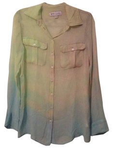Guess Blue Green Button Down Button Down Shirt Ombre