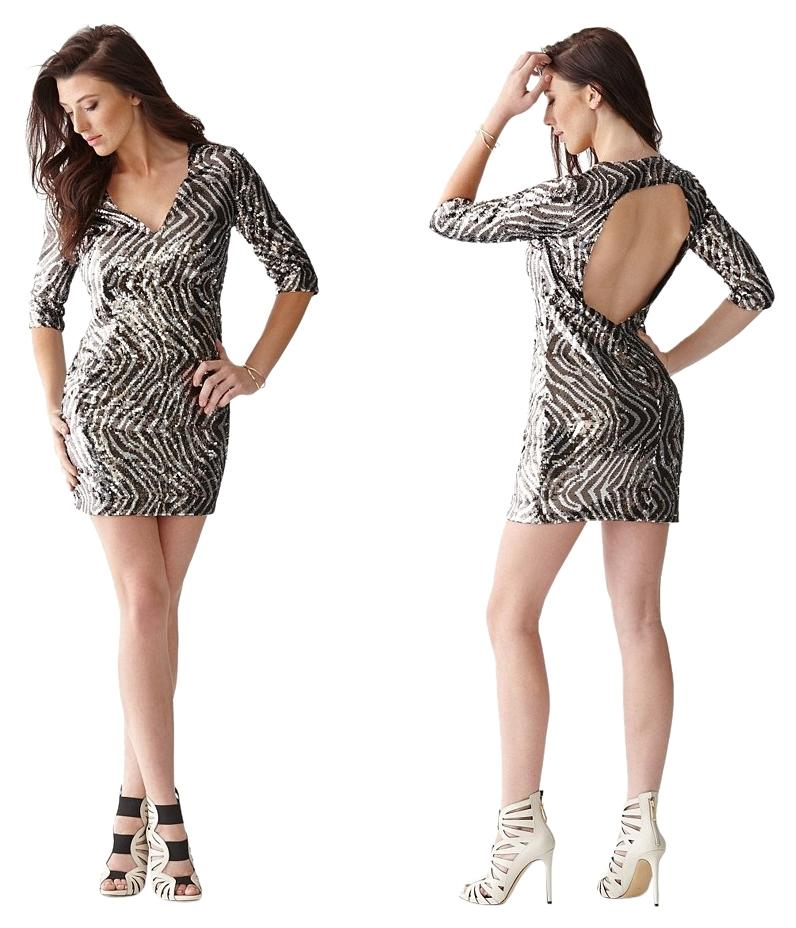 Zebra Print Sequin Dress