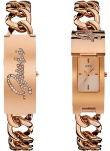 Guess GUESS Women's W0321L3 Rose Gold-Tone ID Bracelet Watch with Self-Adjustable Bracelet
