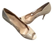 Guess Leather Heels Womens Designer Taupe Beige Natural Pumps