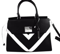 Guess Fireside White Satchel in Black
