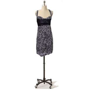 Guess Black Beige Smocked Wild Print Party Dress