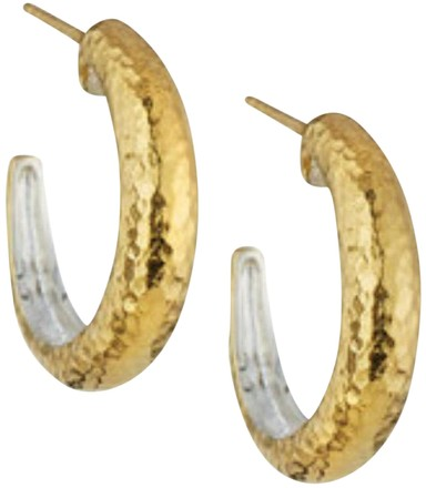 GURHAN GURHAN HOOPLA 24K GOLD SMALL TAPERED HOOP EARRINGS