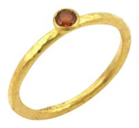 GURHAN Gurhan Skittle 24k Gold Spessartite Hammered Texture Ring-