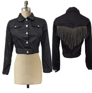 Gypsy Junkies Los Angeles Urban Outfitters Cropped Fringe Black Jacket