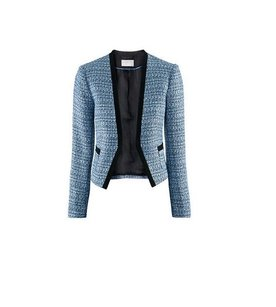 H&M BOUCLE BLUE TWEED BLACK TRIM BLAZER Blazer