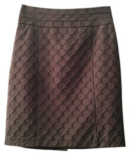 H&M Embroidered Skirt GRAY POLKA DOT TEXTURED PENCIL SKIRT