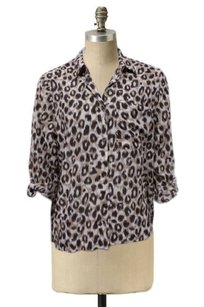 H&M Hm Leopard Print Hi Low Semi Sheer Top Beige Brown