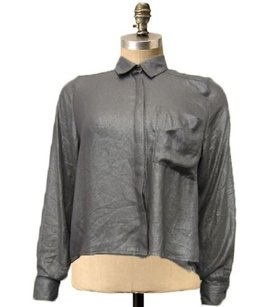 H&M Hm Gray Collar Long Top Grey Shinning