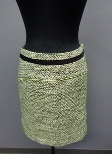 Halogen Textured Poly Blend Lined Fitted Mini Sma9005 Mini Skirt Green Black