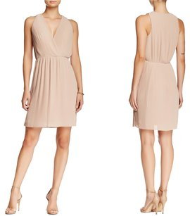 Halston Beige V Neck Pleated Dress
