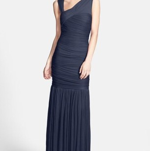 Halston Navy Halston Heritage Fortuni Pleated Jersey Gown Navy Dress