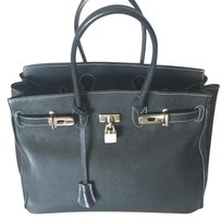 100 Percent Made in Italy Birkin Style Tote Satchel in Black