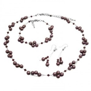 Burgundy Pearls & Crystals Bridemaids Jewelry Set