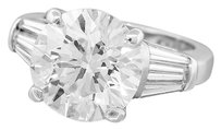 Gorgeous Platinum 6.17ct Round and Baguette Cut Diamond Engagement Ring