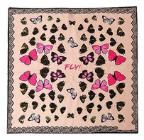 Other Medium Square 100% Silk Scarf Pink Theme Butterfly Print 21in x 21in (52cm x 52cm)