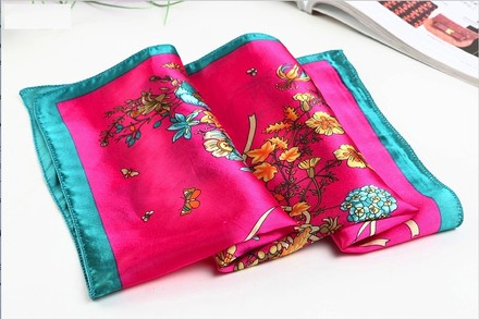 """Other Medium Square Silk Scarf Twill - High Quality Painted with Hand Rolled Hem Hot Pink Theme Floral Pattern 21"""" x 21"""" (52x52cm) neckerchief"""