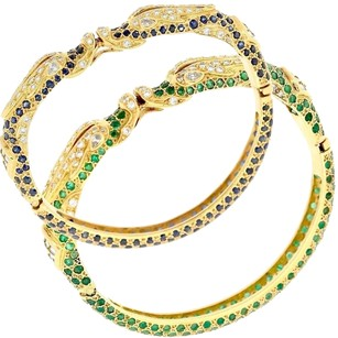 18k Solid Yellow Gold Chinese Dragon Bangle Bracelets Diamond Emerald Sapphire