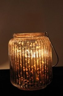 Hanging Mercury Glass Lantern Silver Ribbed Candle