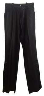 Harley Davidson Fringe Straight Pants Black leather with tassels