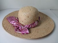 Hat Attack Hat Attack Buji Baja Purple White Striped Ribbon Raffia Sunhat