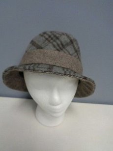 Hat Attack Hat Attack Wool Blend Brown Plaid Fedora Casual Hat Os B1481