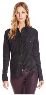 Haute Hippie Suede Western Button Down Shirt Smoke Gray