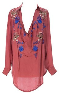 Haute Hippie Womens Embroidered Low Cut Top Salmon