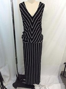 Black/ Cream Maxi Dress by Heather Black White Diagonal