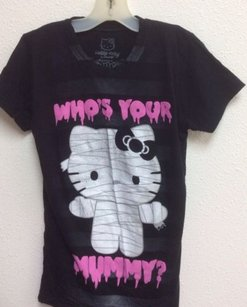 Hello Kitty Halloween Whos Your Mummy Jr T Shirt Black
