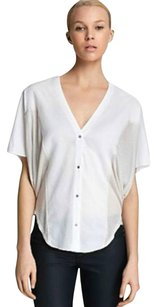 Helmut Lang Dolman Optic Sheer Top White and Cream