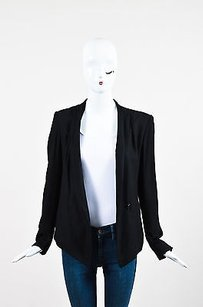 Helmut Lang Helmut Lang Black Jersey Knit Talon Button Draped Long Sleeve Blazer Jacket