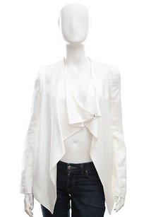 Helmut Lang Helmut Lang White Jaquard Print Pattern Draped Long Sleeve Blazer Suit Jacket