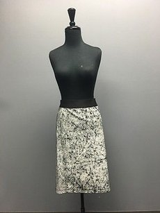 Helmut Lang Crackle Stretch Leather White Pencil Sma9894 Skirt Black