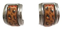 Hermès Auth HERMES Enamel Clip Earrings Cloisonne/Palladium Brown/Silver (BF081674)