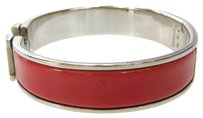 Hermès Auth HERMES Logos Clic Clac Bracelet Bangle Silver Plated Red Accessory 30D073