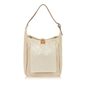 Hermès Beige Brown Canvas 6khesh006 Shoulder Bag