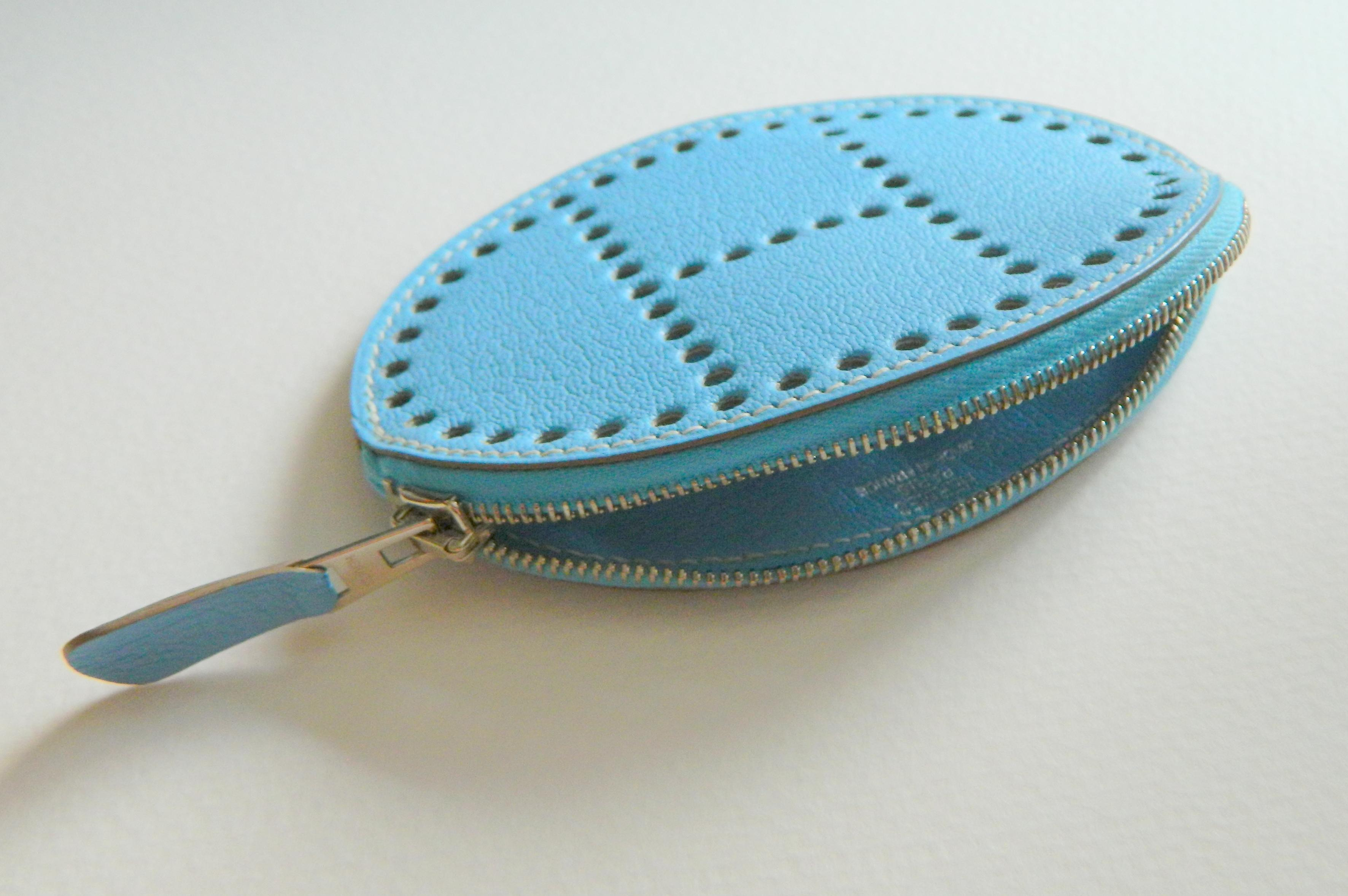 f708bf665ca8 ... coupon hermès hermes evelyne blue jean leather coin purse chevre mysore  o stamp . 12345678 856d7