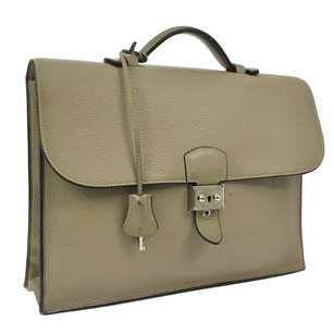Hermès Briefcase Taurillon Clemence Gray Light Gray Messenger Bag