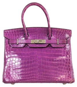 Hermès Crocodile Porosus Birkin 30 Cm Tote in Purple